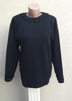 Шерсть кофта,свитер,джемпер,кружево,пайетки,blue & blue,люкс бренд,оригинал,италия1 фото