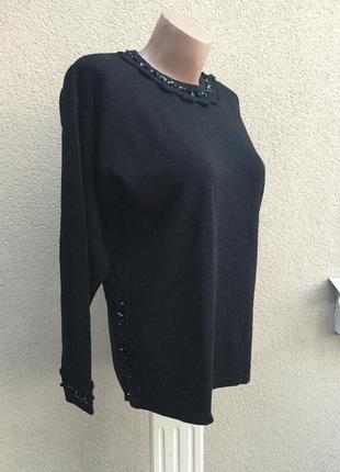 Шерсть кофта,свитер,джемпер,кружево,пайетки,blue & blue,люкс бренд,оригинал,италия5 фото