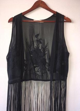 Прозрачный жилет с вышивкой и длинной бахромой, сетка винтаж lira