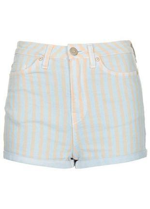 Летние высокие трикотажные джинсовые шорты в полоску классика  topshop 8165
