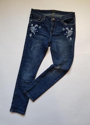 Крутые синие джинсы с вышивкой,стильные джинсы с потертостями и высокой посадкой,