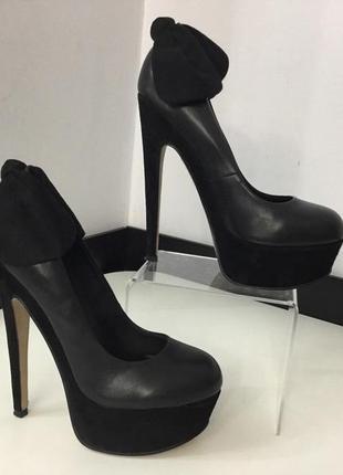 Туфли кожаные замшевые лодочки с бантом на высоком каблуке и платформе topshop