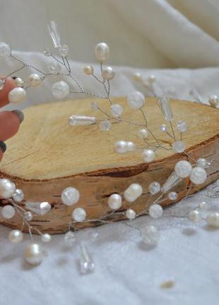 Свадебная веточка в прическу из жемчуга и кварца ′снежана′