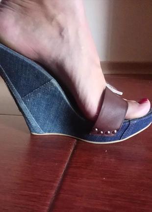 Элитные джинсово-кожаные шлепанцы на платформе gianmarco lorenzi. оригинал!!! italy