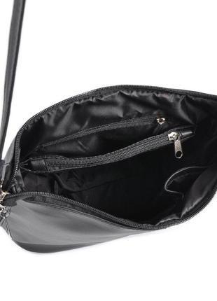 Черная молодежная сумочка через плечо матовая на молнии4