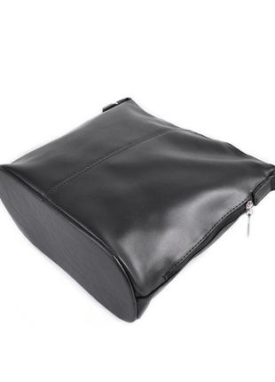 Черная молодежная сумочка через плечо матовая на молнии3