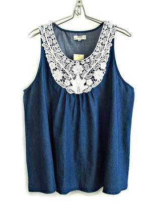Красивая джинсовая блузка с кружевом, деним р.16