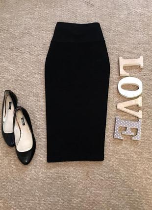 Черная юбка со структурной ткани marks&spencer