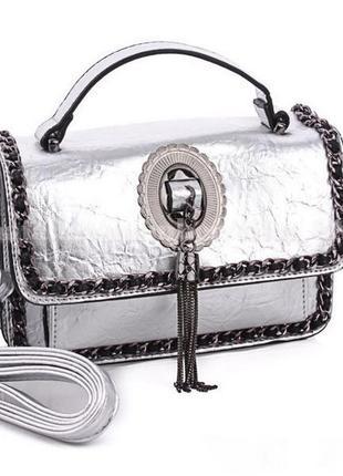 Клатч, сумка через плечо 6706 серебро