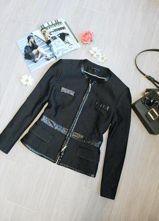 Черный пиджак/жакет/куртка/ветровка с кожаными вставками от anne klein