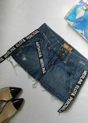 💣 джинсовая юбка с лампасами