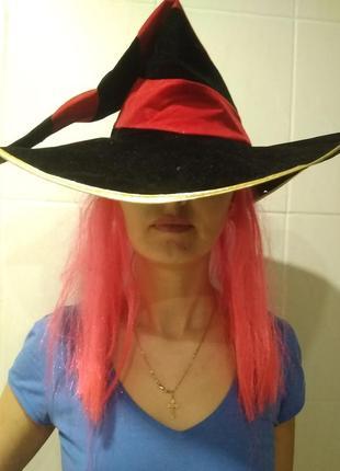 Карнавальная шляпа ведьмы с париком