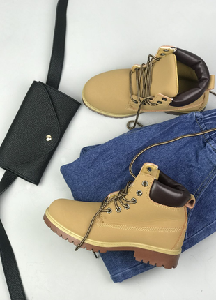 Ботинки демисезонные весенние осенние на шнуровку рыжые