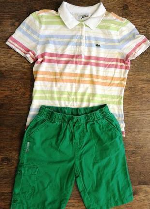 Крутой фирменный летний комплект футболка поло и шорты