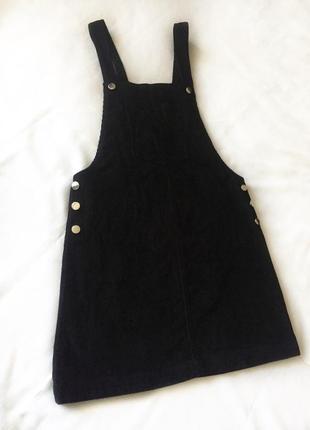 Сарафан черный, вельветовый, тренд 2019, платье, m-l