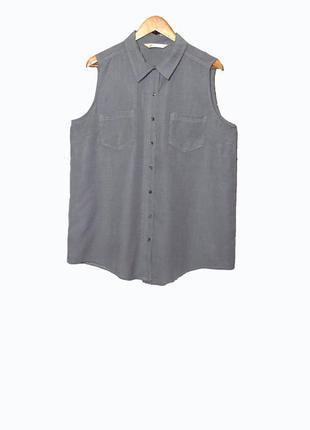 """Стильная рубашка-безрукавка в мелкий принт """"гусиная лапка"""" uk18"""