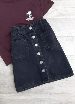 Черная юбка на пуговицах miss selfridge