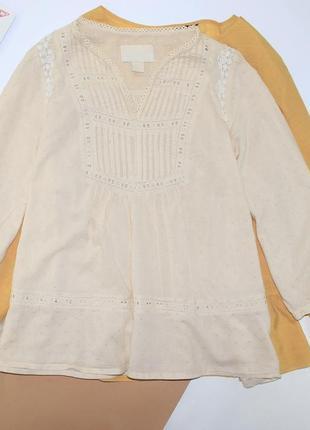 Шикарная легкая котоновая блуза в выбитый горох и вышивкой