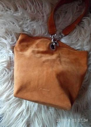 Итальянская натуральная замшевая сумка-трансформер dimoni