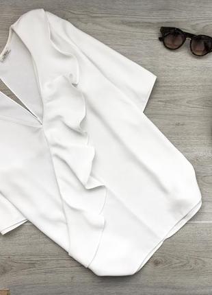 Невероятная блуза/блузка с оборкой 3xl молочного цвета river island