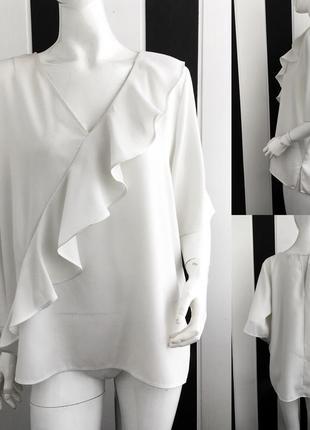 Невероятная блуза/блузка с оборкой 3xl молочного цвета river island5 фото
