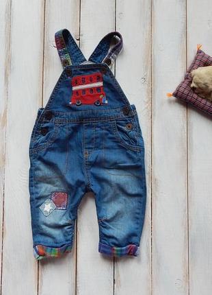 Next стильный джинсовый комбинезон на мальчика 3-6 мес