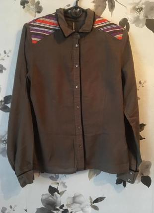 Шиыоновая блуза цвета хаки