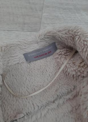 Темно -коричневая меховая дубленка под замш dorothy perkins5 фото