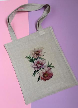 Экосумка пионы киев, шоппер, екосумка квіти, экосумка цветы киев, авоська киев