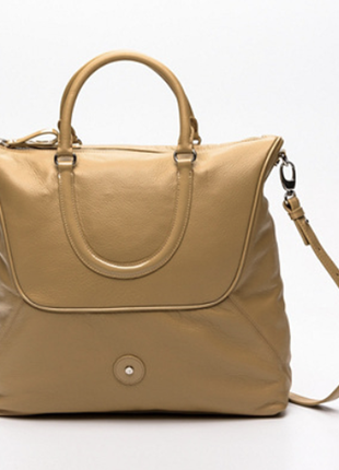 Новая. 100% кожа. оригинал. сумка lamarthe, paris. беж/светло-горчичный
