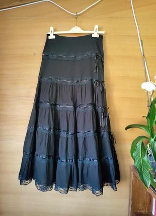 Длинная чёрная  юбка хлопок с кружевом
