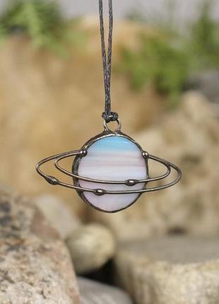 Подвеска сатурн розово-голубой