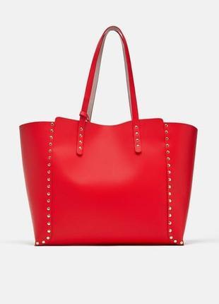 Сумка  женская шоппер двухсторонняя красный 10157