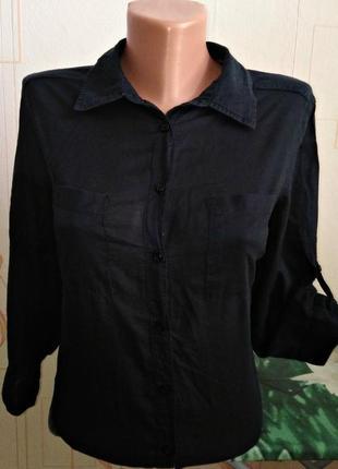 Угольно-чёрная рубашка на пуговицах jessica (c&a) германия
