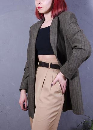 Коричневый пиджак длинный, удлиненный пиджак оверсайз, женский пиджак в полоскуoversize1 фото