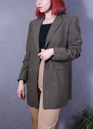 Коричневый пиджак длинный, удлиненный пиджак оверсайз, женский пиджак в полоскуoversize5 фото