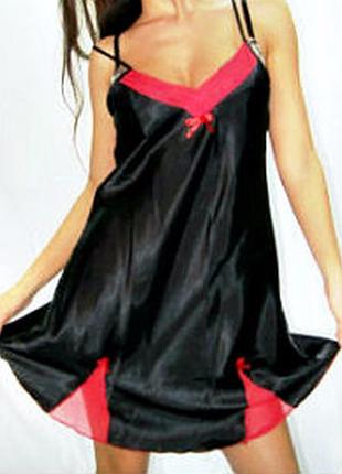 Пеньюар черный, ночная сорочка женская