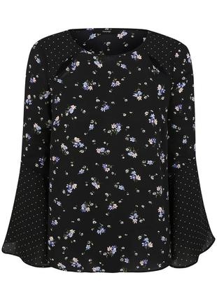 Актуальная шифоновая блуза мультипринт с расклешенными рукавами №112