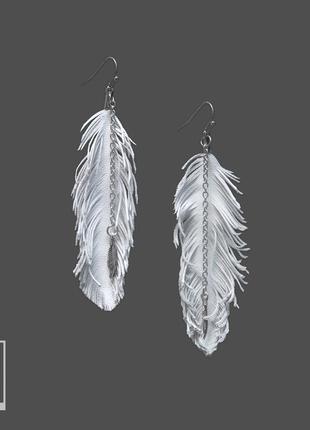Белые кожаные серьги перья бохо шик стиль