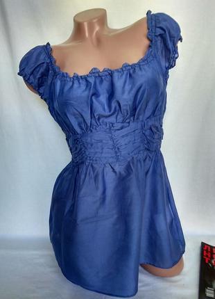 Невесомая  и классная блуза/топ 71%хлопок+29%шелк синего цвета р. s/m , от xanaka