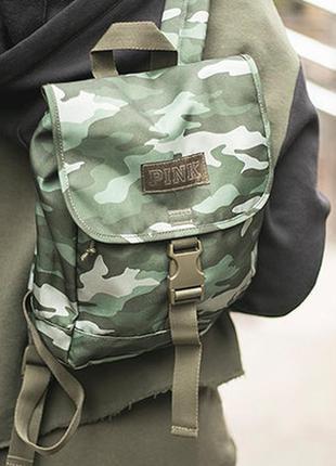 Камуфляжный рюкзак victoria's secret pink оригинал, милитари рюкзачок виктория сикрет