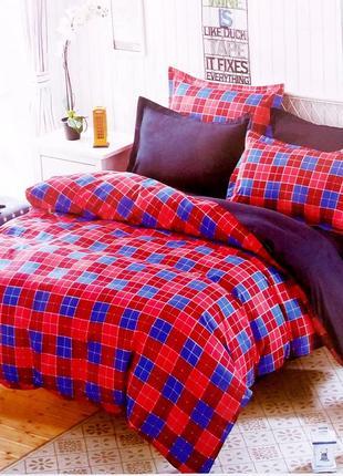 Набор постельного белья клетчатый 100% хлопок евро