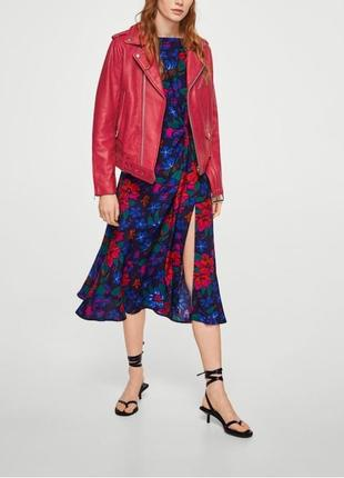 Кожаная куртка mango р. s, оригинал косуха с лацканами,курточка красная кожа