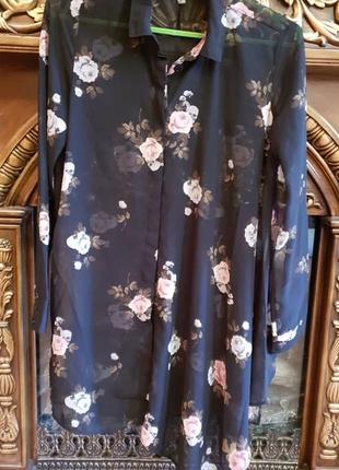 Красивая рубашка с цветочным принтом h&m