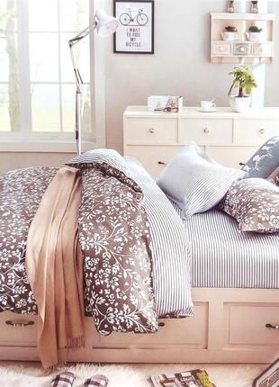 Набор постельного белья бело-серый 100% хлопок евро