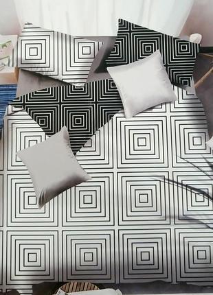 Набор постельного белья черно-белый 100% хлопок
