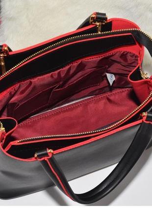 Сумка класса люкс черная с красной серединой5 фото
