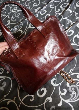 Бомбезная кожаная сумка100%кожа