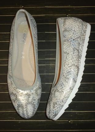 Туфли gabor comfort португалия натуральная кожа серебристые