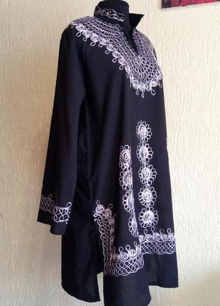 Хлопковая рубашка-платье с вышивкой, натуральная туника, удлиненная блуза